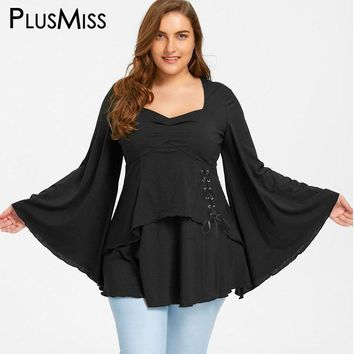 Plus Size 5XL Lace Up Sweetheart Neck Tops Women Autumn 2017 Vintage Bell flare Sleeve Peplum Blouse Shirt Black Oversized