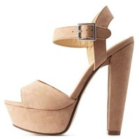 Taupe Platform Chunky Heel Sandals by Charlotte Russe