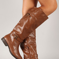 Bamboo Montage-78 Buckle Riding Knee High Boot