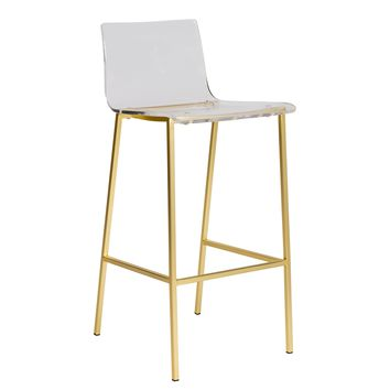 Crystal Clear Bar Stool ACRYLIC/GOLD - Set Of 2