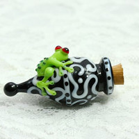 Lampwork Bottle-- Frog Bottle--Frog Vessel --Glass Frog---SRA