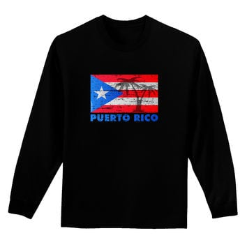 Distressed Puerto Rico Flag Adult Long Sleeve Dark T-Shirt