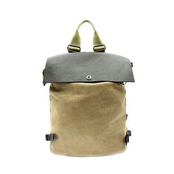 PEAP78W Faux Leather and Canvas Backpack