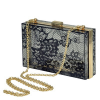 Madrid Perspex Lace Print Box Clutch Bag