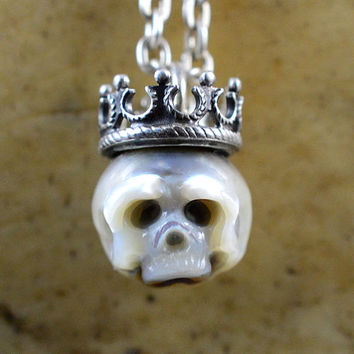 READY TO SHIP - Hand Carved Pearl Skull Necklace Wearing Sterling Silver Crown - Skull Pearl Pendant - Pearl Necklace - Holiday Jewelry