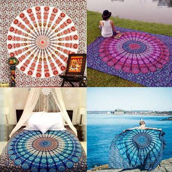 ESBU3C Handmade Chiffon Indian Mandala Tapestry Hippie Home Decor Wall Hanging Boho Beach Towel Yoga Mat Bedspread Table Cloth Yoga Mat