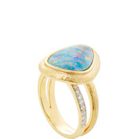 18K Yellow Gold, Opal Doublet and Diamond Ring