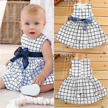 Dresses Baby Toddler Girl Kids Clothing Plaids Bownot Bow Cute Cotton Outfit Princess Clothing Dress Summer Girl