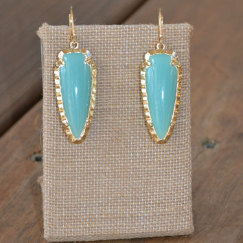Teal Arrowhead Earrings