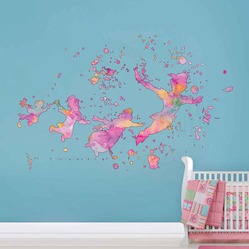 cik1823 Full Color Wall decal Watercolor Peter Pan Baby room cot