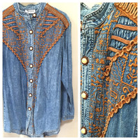 Vintage Denim Blouse 1970s Denim Shirt Brown Embroidered Boho Blouse Vintage 70s Bohemian Blouse Light Denim Hippie Blouse 70s Vintage Fall