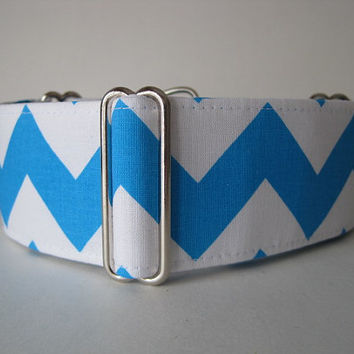 2 inch Martingale Collar, Chevron Martingale Collar, Turquoise and White, Dog Collar, Custom Dog Collar, Greyhound Collar