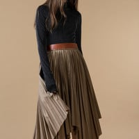 Leather Belt Pleated Skirt