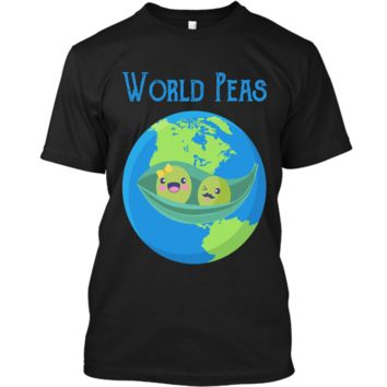 World Peas - Funny World Peace Pun T Shirt Earth Day Tee Custom Ultra Cotton