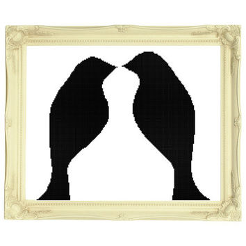 Bird Couple Wedding Silhouette Cross Stitch Pattern