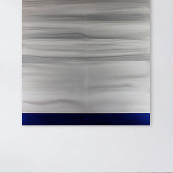 Large Gray Blue & White Landscape, Contemporary Abstract Painting