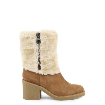 Guess Ankle Boots In Camel And Cream Color With Fur Accent - FLRIL4SUE10