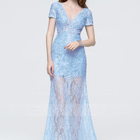[ 169.99] A-Line/Princess V-neck Floor-Length Lace Prom Dress With Beading Sequins (018089710)