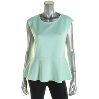Bar III Womens Scuba Exposed Zipper Peplum Top