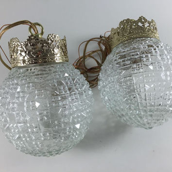 Vintage Retro Mid Century Hanging Swag Lamp Clear Cut Glass Light Fixture New In Box NIB NOS By Sears