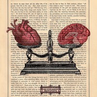 EQUILIBRIUM human HEART BRAIN on dictionary book page art print upcycled anatomical heart brain scale black white art