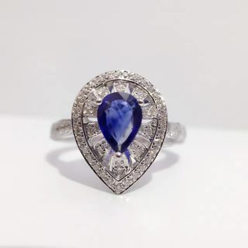 0.670ct+0.324ct 18K Gold Natural Sapphire Women Ring with Diamond Setting 2016 New Fine Jewelry Wedding Band Engagement