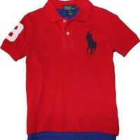 Polo Ralph Lauren Toddler Boy's Big Pony Mesh Polo, Red, 3/3T