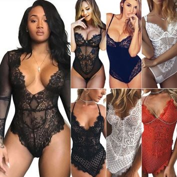 Women Lady Sexy Lingerie Nightwear Sleepwear Babydoll Lace Bodysuit Leotard Tops