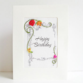 Birthday card, embroidered greeting card, silk ribbon card, handmade card, silk ribbon embroidery