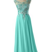 Sunvary Jewel Chiffon Prom Gowns for Party Pageant Dresses 2015 Long- US Size 26W- Hunter Green