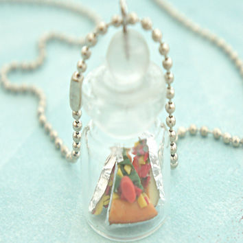 pizza slices in a jar necklace