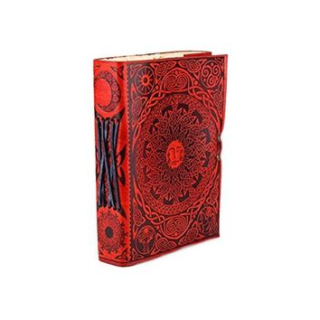 5 x 7 Sun Orange Leather Journal Sacred Symbols with Latch
