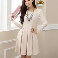 Graceful Korean Women's Slim Pleated Polka Dot Long Sleeve Dress(Belt Included)