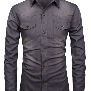 Men's Modern Fit Daily Stretchy Washed Denim Long Sleeve Shirt