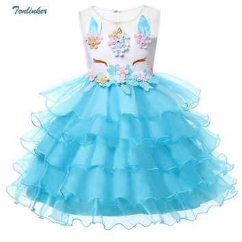 Girl Unicorn Flower Princess Tutu Dress for Wedding Dresses With Hairband Cosplay Costume Kids Baby Birthday Party Cake Dress