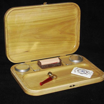 "Marijuana Rolling Tray, 10"" X 12""  The Gold Camp made out Colorado Aspen. Large Rolling Tray with storage &. (2) 1-oz  Stash can"