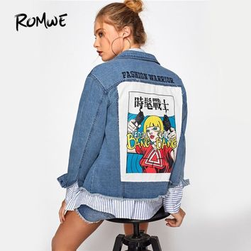 Trendy ROMWE Patch Back Punk Denim Jacket Coat Women Distressed Casual Button Up Jackets 2018 Long Sleeve Single Breasted Short Jacket AT_94_13