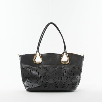 Laser Cut Double Bag Tote in Black