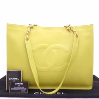 Auth CHANEL CC Logo Shopping Tote Shoulder Bag Light Green Caviarskin - e30400