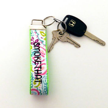 MATURE NSFW Tropical Flowers Wristlet & Neon Green Webbing Smoke That Good Shit Vulgar Lanyard Key Fob Swearing Chain Profane Adult Strap