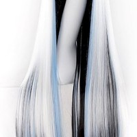"MapofBeauty 40"" 100cm Anime Costume Long Straight Cosplay Wig Party Wig (White/Blue/Black)"