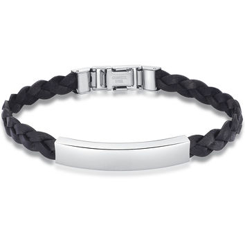 Braided Leather and Stainless Steel Id Style Unisex Bracelet