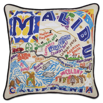 Malibu Hand Embroidered Pillow