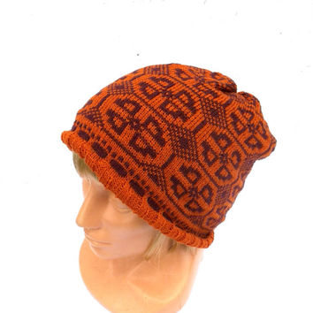 Knitted wool beanie, knit colorful winter hat, orange brown double skull cap, knitting accessories, knit patterned hat, women's men's beanie