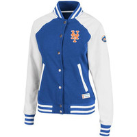Majestic New York Mets Ladies Pumped Up Varsity Full Button Jacket - Royal Blue