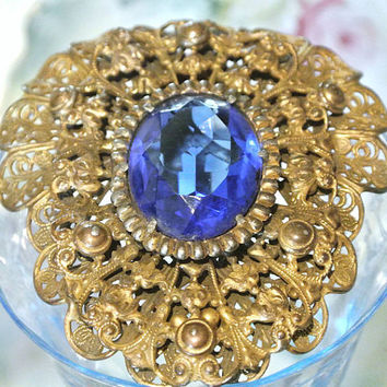 Czech Art Deco Fur Dress Clip Antique Dress Fur Clip Vintage Fur Dress Clip Sapphire Blue Cobalt Glass Filigree Metal 1930s Czechoslovakia