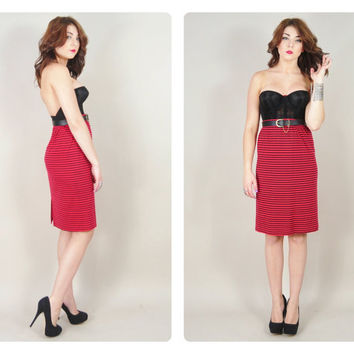 1970s red & black striped high waist cotton knit PUNK rocker indie tight skinny pencil skirt VINTAGE