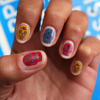 Colorful Sugar Skull Nail Art Decals by NailSpin on Etsy
