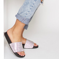 Moesha Black Diamonte Sliders : Simmi Shoes