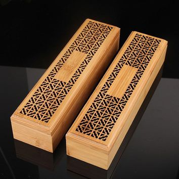 Bamboo Zen Incense Burner With Lower Drawer Beautiful Finish for Sticks or Cones